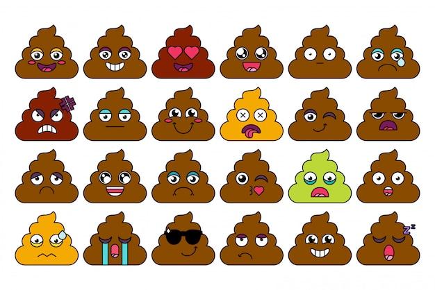 Łajno, kupa zestaw naklejek emoji. śliczne gówno emotikony, pakiet kreskówek z mediami społecznościowymi. wyraz nastroju