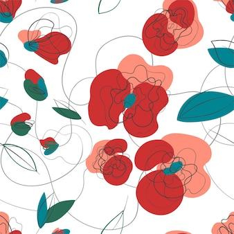 Łąka mak kwiatowy wzór. letni ogród retro tekstura. wektor wzór wsi rysunek odręczny. ilustracja wektorowa kwiatowy wiosna. białe tło. druk liniowy millefleur