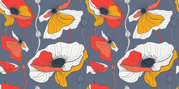 Łąka na letnie dzikie kwiaty. wzór z białymi i czerwonymi makami na ciemnoszarym tle