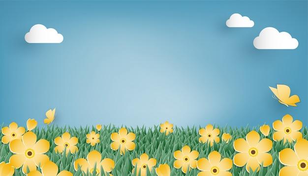 Łąka z kwiatami i motylem w stylu sztuki papierowej.