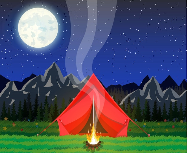 Łąka z trawą i campingiem.
