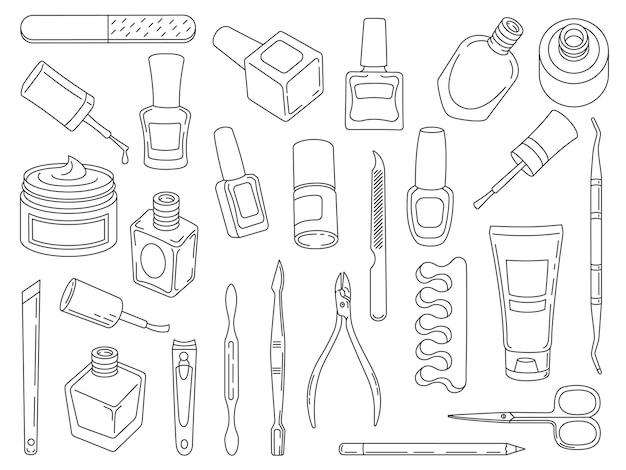 Lakier do paznokci. narzędzia i akcesoria do manicure i pedicure. liniowa ikona pielęgnacji paznokci salon krem do rąk, nożyczki, pilnik i szczypce, wektor zestaw. profesjonalny zabieg upiększający dla kobiety