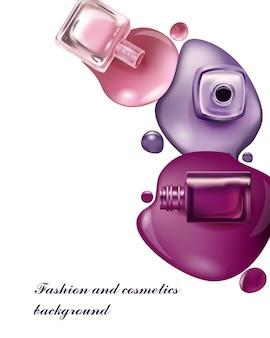 Lakier do paznokci tło kosmetyczne i kosmetyczne użyj do ulotki reklamowej banner ulotkiwektor