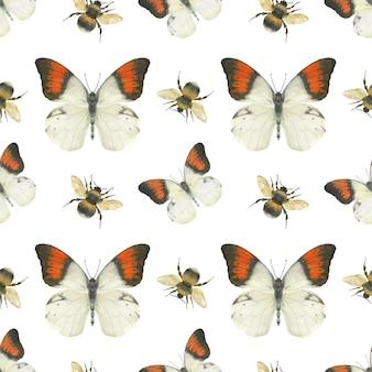 Łąkowy motyli bezszwowy wzór