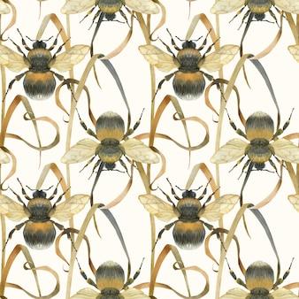 Łąkowy pszczoły światła bezszwowy wzór