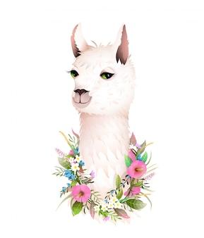Lama cute romantic flowers animal t shirt z nadrukiem