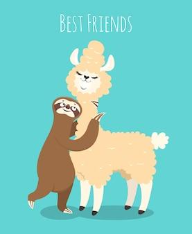 Lama i lenistwo. alpaka z leniwym leniwym misiem. koszulka, zabawny plakat