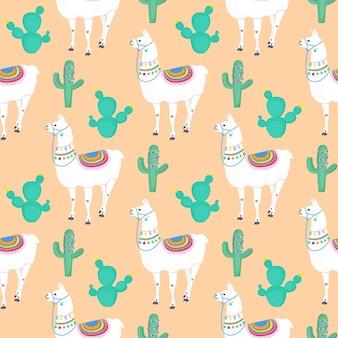 Lama. kaktusy. kaktus. zabawna postać z kreskówki alpaki. wzór do przedszkola, tkaniny, tekstyliów, odzieży dziecięcej.