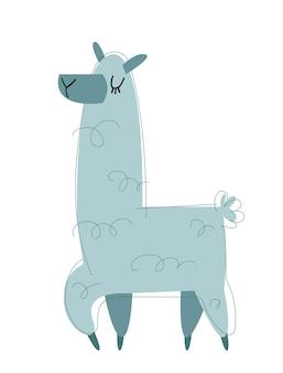 Lama kreskówka wektor obraz w stylu kreskówka na białym tle trendy styl i kolor