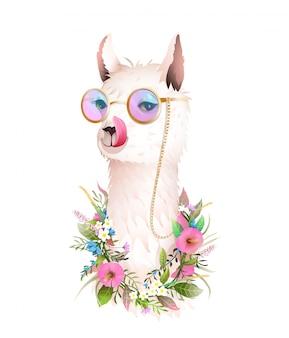 Lama pokazuje język, zabawne okulary przeciwsłoneczne kwiaty zwierząt