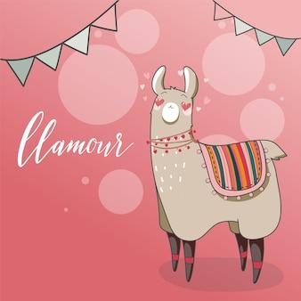 Lama w stylu kreskówki. lama zakochany z sercem w oczach. ręcznie rysowane ilustracji wektorowych. elementy karty z pozdrowieniami, plakat, banery. projekt koszulki, notesu i naklejki