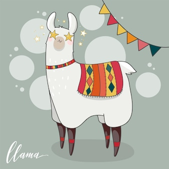 Lama w stylu kreskówki. oczy gwiazdy. ręcznie rysowane ilustracji wektorowych. elementy karty z pozdrowieniami, plakat, banery. projekt koszulki, notesu i naklejki