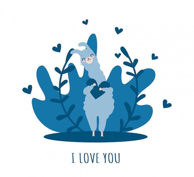 Lama zakochana w sercu i wielu szczegółach. słodka alpaka.