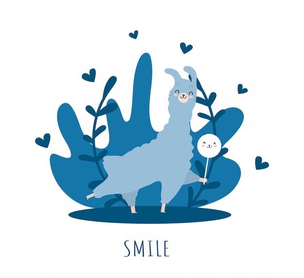 Lama zakochana w uśmiechu i wielu szczegółach. słodka alpaka.