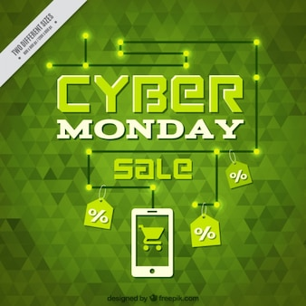 Łamana zielone tło dla cyber poniedziałek