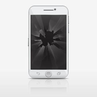 Łamany szkło ekran telefon, smartphone ilustracja. telefon komórkowy z potłuczonym szkłem