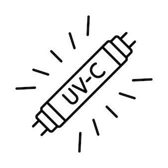 Lampa bakteriobójcza uv-c. medyczne urządzenie przeciwdrobnoustrojowe do domu, kliniki, szpitala. bakteriobójcze promieniowanie ultrafioletowe. lampa uv-c do dezynfekcji. ikona konturu. wektor