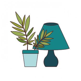 Lampa biurowa z rośliną doniczkową