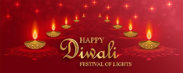 Lampa diya z oświetleniem ognia na diwali, deepavali lub dipavali, indyjskie święto świateł na kolorowym tle