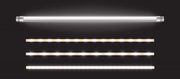 Lampa i paski ledowe, długa świetlówka