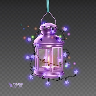Lampa magic w kolorze fioletowym, otoczona świecącymi girlandami, realistyczna lampa na przezroczystym tle, ilustracja