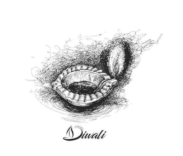 Lampa naftowa - diya, festiwal diwali, ręcznie rysowane szkic wektor ilustracja.