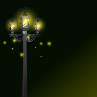 Lampa ogrodowa lub lampy uliczne z efektem świetlnym w tle