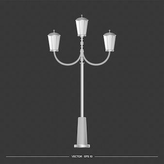 Lampa uliczna. metalowa latarnia. ilustracja wektorowa realistyczne.
