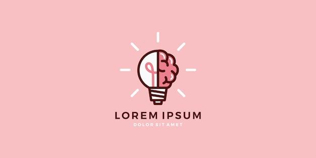 Lampa żarówki mózgu logo inteligentny pomysł wektor do pobrania