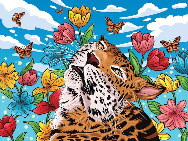 Lampart w lecie z kwiatem w tle i ładny motyl