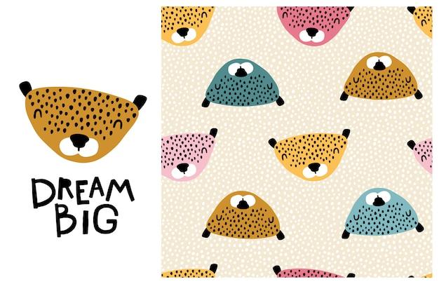 Lampart. wielkie marzenie. śliczna twarz zwierzęcia z napisem i bezszwowym wzorem. dziecinny nadruk w stylu skandynawskim. ilustracja kreskówka w pastelowych kolorach
