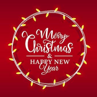 Lampka bożonarodzeniowa umieszczona w kole, wewnątrz napis świąteczny na czerwonym tle. kartki świąteczne w stylu płaski.
