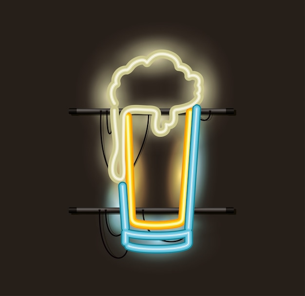 Lampka neonowa ze szklanego piwa