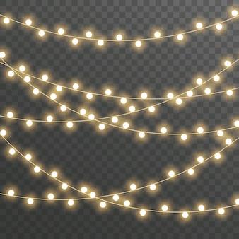 Lampki choinkowe, girlanda na przezroczystym.