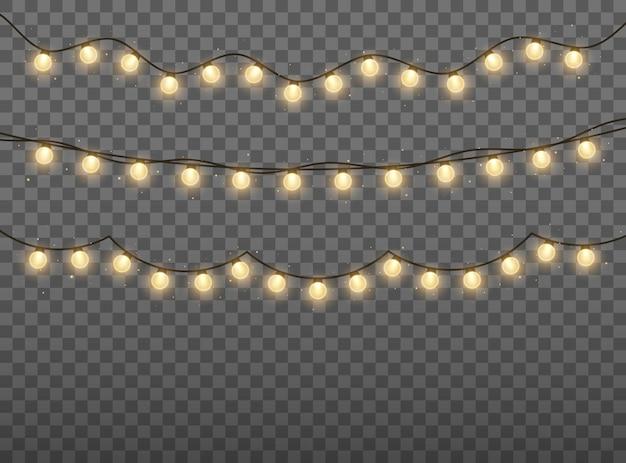 Lampki choinkowe jasna złota girlanda świecące żarówki na kartki świąteczne