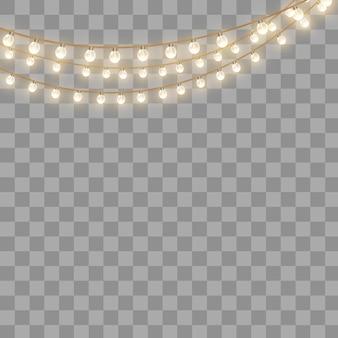 Lampki choinkowe, na białym tle na przezroczystym tle. świecąca girlanda świąteczna.