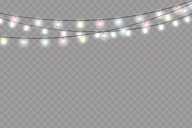 Lampki choinkowe na białym tle realistyczne elementy projektu.