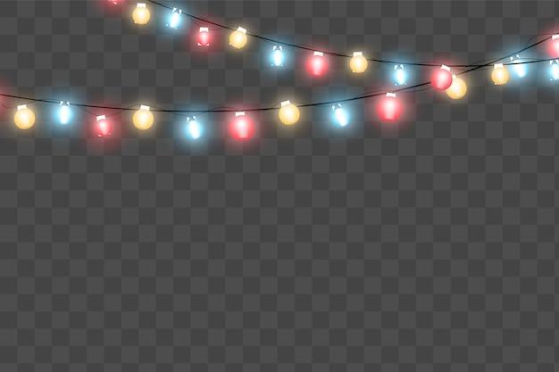 Lampki choinkowe na białym tle realistyczne elementy.