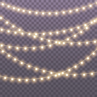 Lampki choinkowe na przezroczystym tle dla kart banery plakaty projektowanie stron internetowych zestaw złotej świecącej girlandy xmas ilustracja neonowa lampa led