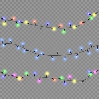Lampki choinkowe na przezroczystym tle. świąteczna girlanda świecąca. ilustracja.
