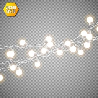 Lampki choinkowe na przezroczystym tle. zestaw świątecznych świecących girland.