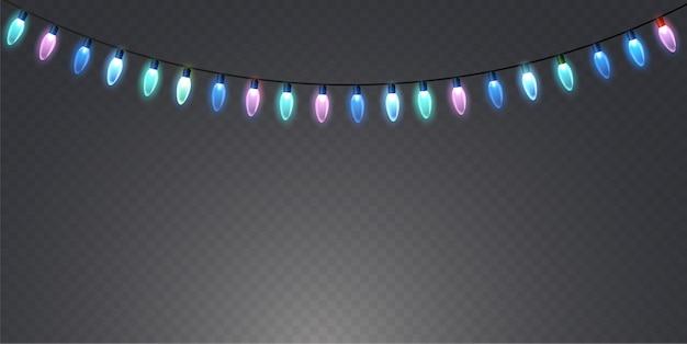 Lampki choinkowe na przezroczystym tle.