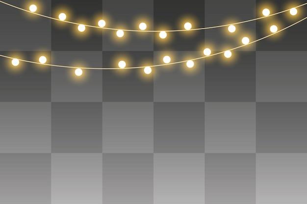 Lampki świąteczne na białym tle, realistyczna girlanda