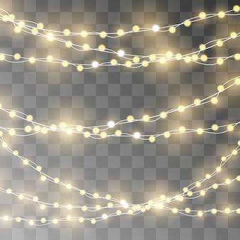 Lampki świąteczne na białym tle realistyczne elementy.