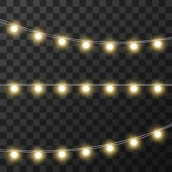 Lampki świąteczne na przezroczystym tle