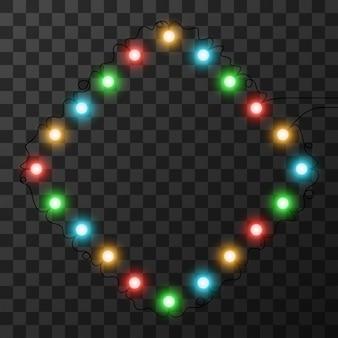Lampki świąteczne na przezroczystym tle,