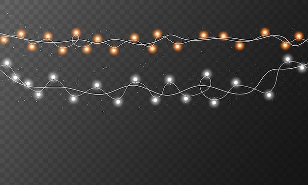 Lampki świąteczne na przezroczystym