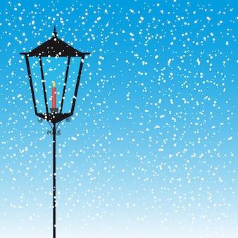 Lampowa ulica z świeczką nad śnieżną wektorową ilustracją