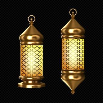 Lampy arabskie, złote lampiony z arabskim ornamentem, pierścionek, płonące świece. akcesoria na islamskie święto ramadanu. realistyczne 3d wektor vintage świecące świecące światła na białym tle