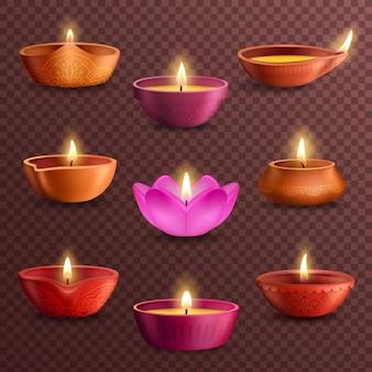 Lampy diwali diya na przezroczystym tle realistyczne festiwalu światła diwali. indyjskie lampy naftowe religii hinduistycznej z czerwonej i różowej gliny z dekoracją rangoli, wzorami paisley, płatkami kwiatów
